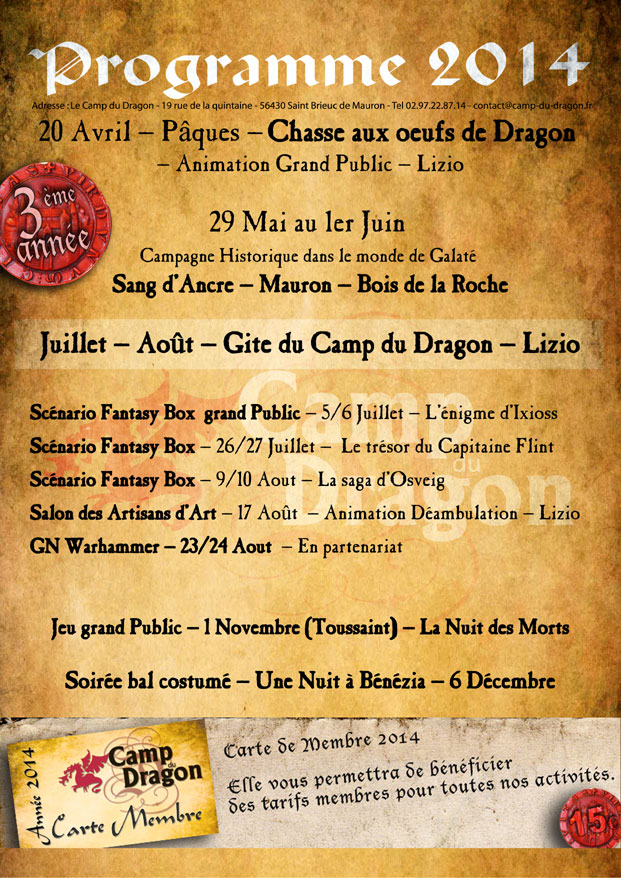 Camp du Dragon 2014 Programme2014